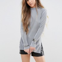 Glamorous Long Sleeve Top With High Neck In Plisse Fabric at asos.com