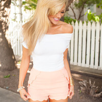 Scalloped Shorts Neon Coral