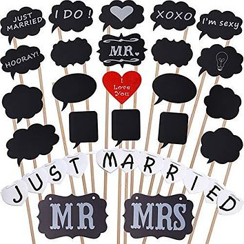 PuTwo Photo Booth Props for Wedding Mr Mrs Accessories with DIY Blank Posing Props