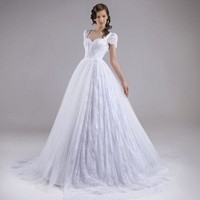 Vintage Lace Wedding Dresses With Sleeve Scoop Princess Style Sexy Backless Wedding Bride Dress Bridal Gowns Vestido de noiva