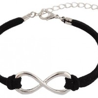 5 Pieces of Black with Metallic Silvertone Infinity Sign Charm with an Adjustable String Bracelet
