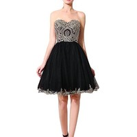 [76.99] In Stock Luxury Tulle Sweetheart Neckline A-line Homecoming Dresses with Lace Appliques - dressilyme.com