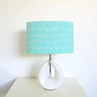 Blue and white wave fabric table lamp and white ceramic lamp base