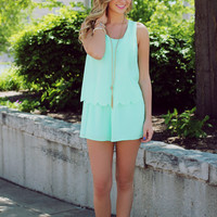 Catch A Wave Romper - Mint