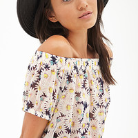 FOREVER 21 Daisy Print Crop Top Cream/Navy