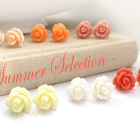 SUMMER SELECTION  SIX pairs of Rose Stud Earrings by MadebyLinLin