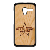 Carved on Wood Effect_Celebrity Hater Black Hard Plastic Case for Moto X by Chargrilled