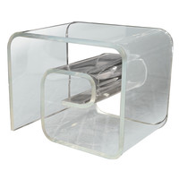 Greek Key Style Lucite Side Table