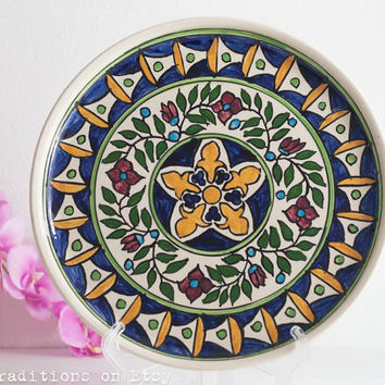 Decorative Armenian Plate, Vintage Ceramic Hand-Painted Floral Plate, Mediterranean Wall Hanging Decorative Plate, Wall Decor