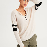 AE Varsity Stripe Henley Pullover Sweater, Cream