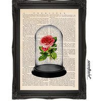 Beauty and the Beast Inspired Rose Original Art Print on Unframed Upcycled Bookpape