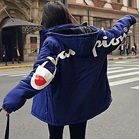 Champion Winter New Popular Women Men Casual Hoodie Zipper Cardigan Jacket Cotton Coat Blue
