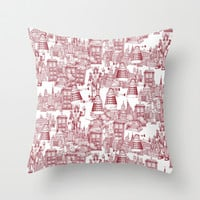 Doctor Who Toile de Jouy   'Walking Doodle'   Red Throw Pillow by Sharon Turner