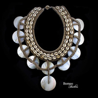 Vintage Papua Necklace(UNMOUNTED)Pearl Shell Disc Necklace Tribal New Guinea Woven Drop Front Ceremonial Neck Adorment Statement Home Decor
