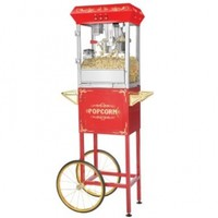 Great Northern Popcorn 6097 8 OZ Foundation Red Full Antique Style Popcorn Popper Machine Complete with Cart and 8-Ounce Kettle