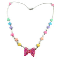 Fairy Kei Necklace with Pink Glitter Bow & Star Candy Beads / Heart Detail