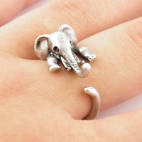 Vintage Retro Elephant Lion Ring Womens Mens Adjustable Eing + Gift Box