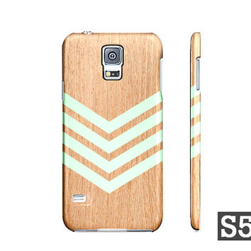 Samsung Galaxy S5 S4 S3 Hard Case - Mint Green Chevron Geometric Wood Pattern - Also Available For iPhone 5S 5 4S 4