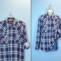 70s 80s distressed COLEMAN grunge flannel shirt navy red pearl snap mens - extra large