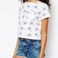 ASOS Cropped T-Shirt with Pocket and Dandelion Print
