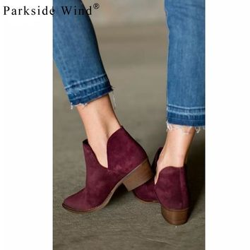Women V Shape Slip-on Ankle Boots Pointed Toe Low Heel Chelsea Boots