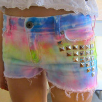 Tie-Dye Studded Abercrombie Girls Size 14 Women's Size 0 Stretch Shorts Multicolor Rainbow Pink Orange Yellow Green Blue Purple Hand Dyed