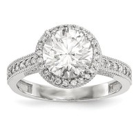 10k White Gold Solid Tiara Collection CZ Halo Ring
