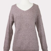 Twist Back Mauve Sweater
