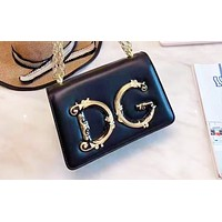 D&G hot seller of solid color large letters ladies casual shoulder bag shopping bag Black