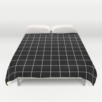 Black White Grid Duvet Cover by Beautiful Homes | Society6