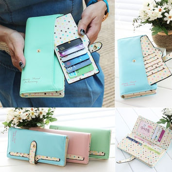 Fashion Hit PU Leather Long Bag Women Lady Zip Clutch wallet Card Purse Gift 7_S (Color: Green)