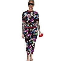 Fendi Fashion New More F Letter Top And Pants Sports Leisure Two Piece Suit Coffee
