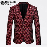 Men Red Printed Blazer Jacket Men Wedding Party Blazer Designs Slim Fit Blazer Costume Home