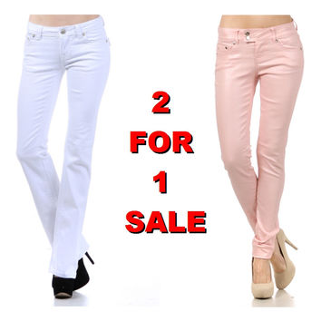 2 For 1: White Denim Jeans & Colored Coated Pants
