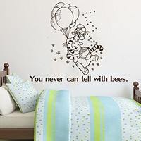 Wall Decals Quotes Vinyl Sticker Decal Quote Winnie the Pooh You never can tell with bees Nursery Baby Room Kids Boys Girls Home Decor Bedroom Art Design Interior NS866