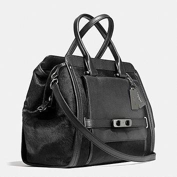 Coach Swagger Frame Satchel in Haircalf