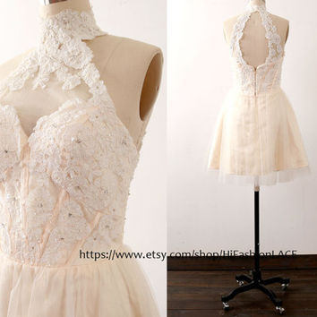 Lace Homecoming Dress, Mini Prom Dresses, Champagne Halter Lace Cocktail Dress, Halter Short Lace Formal Gown, Wedding Party Dress