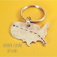Custom Hand Stamped Long Distance Relationship United States Keychain- LDR, Couples, Family, Friends- In Aluminum, Brass, & Copper