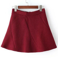 Wine Red Zippered A-Line Skirt