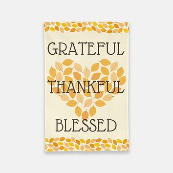 Thankful Grateful Blessed Garden Flag
