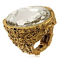 Karine Sultan Floral Carved Oval Ring in Clear