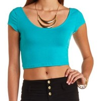 Double Scoop Short Sleeve Crop Top by Charlotte Russe - Jade