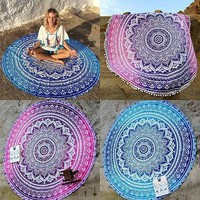 57 Inches Mandala Round Tapestry Wall Hanging Beach Throw Towel Yoga Mat Decor Tapestry
