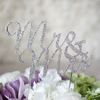 Mr and Mrs Script Silver Crystal Bride and Groom Wedding Cake Topper