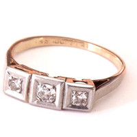Art Deco Diamond Platinum 18K Engagement Ring
