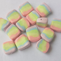Beading Supplies, Rainbow Beads, Marshmallow Beads, Made from Sculpey III