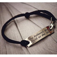 """""""She Believed She Could So She Did"""" Inspirational Leather Bracelet"""