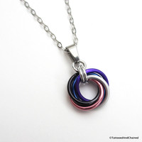 Genderfluid pride chainmaille love knot pendant; pink, white, purple, black and blue