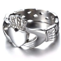 ON SALE - Celtic Knot Claddagh Stainless Steel Ring