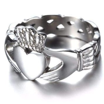 Celtic Knot Claddagh Stainless Steel Ring